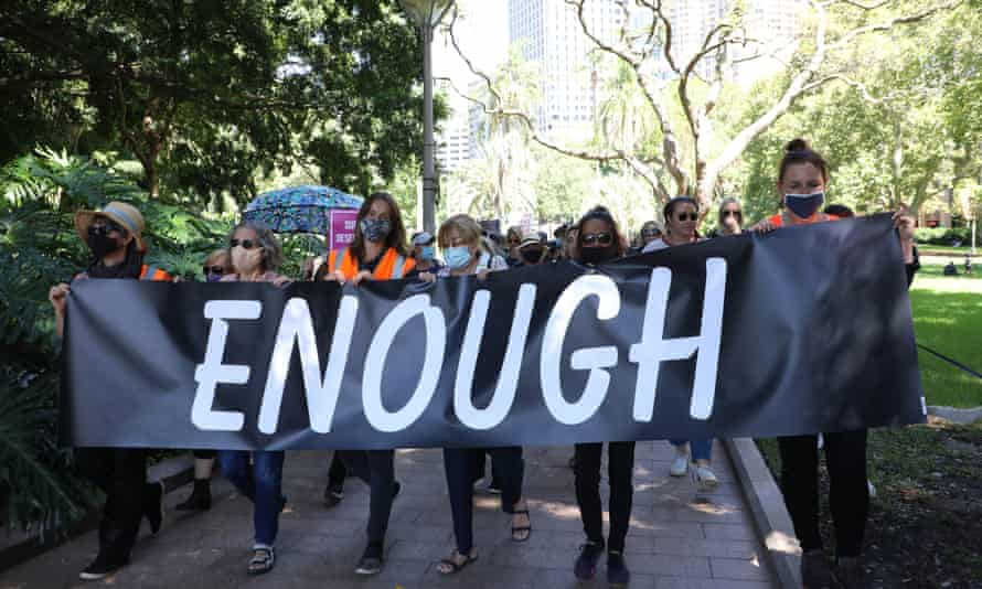 Protesters at a March 4 Justice rally in Sydney on Monday