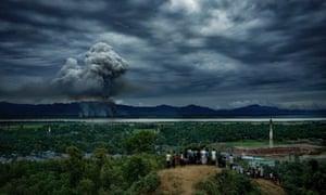 Houses of Rohingyas burning in Myanmar, in September 2017.
