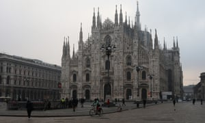 An almost-empty Piazza del Duomo in Milan on 26 February.