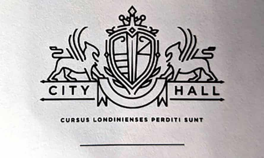 The fake City Hall coat of arms.
