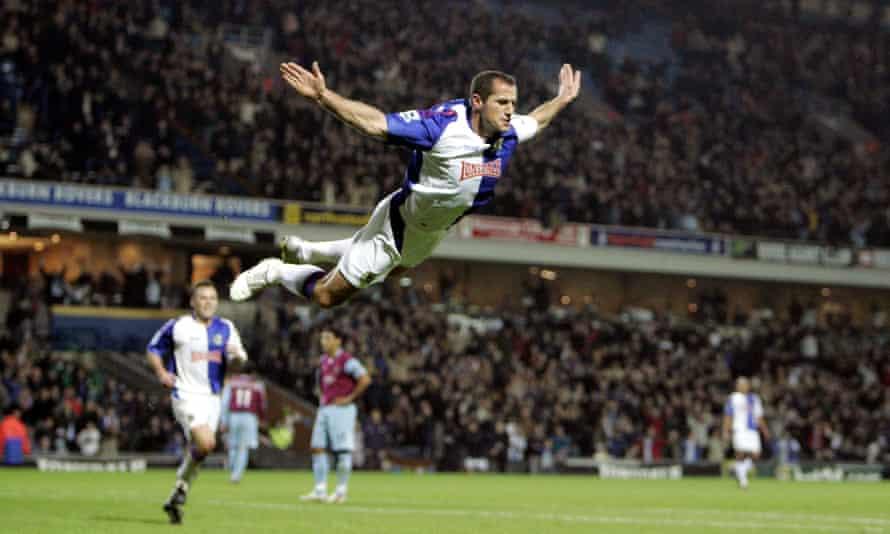 Shefki Kuqi celebrates scoring a goal for Blackburn.