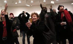 Nan Goldin, centre, and members of Prescription Addiction Intervention Now lead a protest at the Guggenheim Museum in New York, against its funding by the Sackler family, February 2019