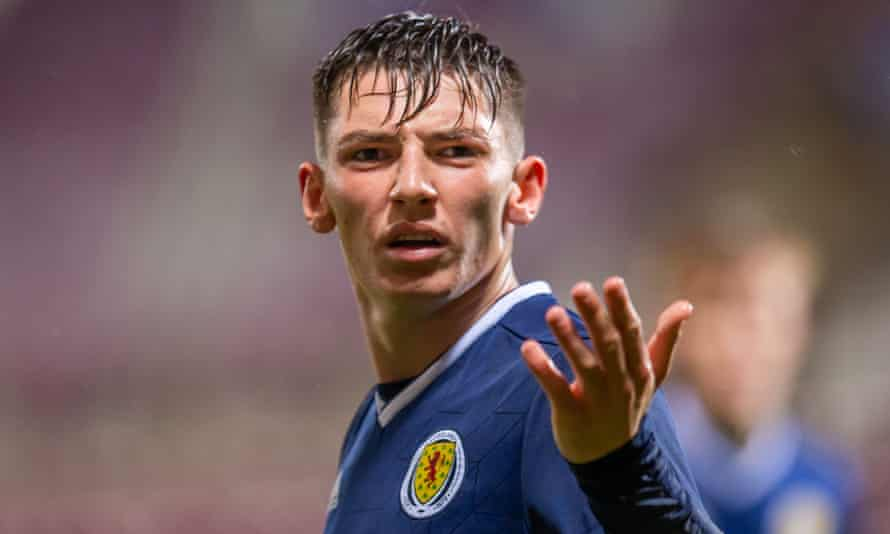 Billy Gilmour in action for Scotland Under-21.