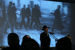 Russia's chief rabbi, Berel Lazar, speaks at a ceremony at the Jewish Museum and Tolerance Centre in Moscow