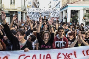 In Patras, school students shout slogans against the new government and the new austerity measures which include budget cuts to education.