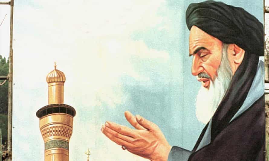 A billboard shows the founder of the Islamic revolution, Ayatollah Ruhollah Khomeini.
