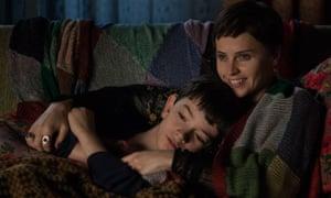 Lewis MacDougall and Felicity Jones in A Monster Calls.