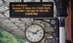 The departure board at Poulton-le-Fylde station in Lancashire, after Northern launched an eight-week interim timetable, removing 165 of its regular trains.