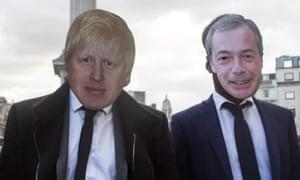 Two men wearing Boris Johnson and Nigel Farage masks.