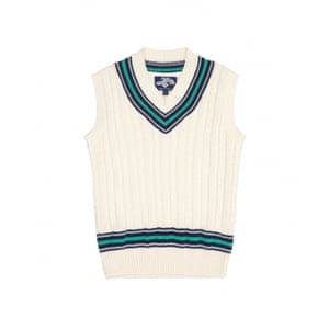 Cricket tank top with green and navy stripe around neck and bottom by Trotters