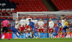 Reece James of England leathers a free-kick goalwards.