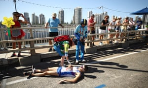 Callum Hawkins collapses with heatstroke and dehydration during the Commonwealth Games marathon on the Gold Coast, Australia, in 2018.