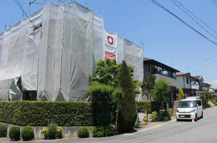 Unusual sight … a house in Midorigaoka undergoing renovation.