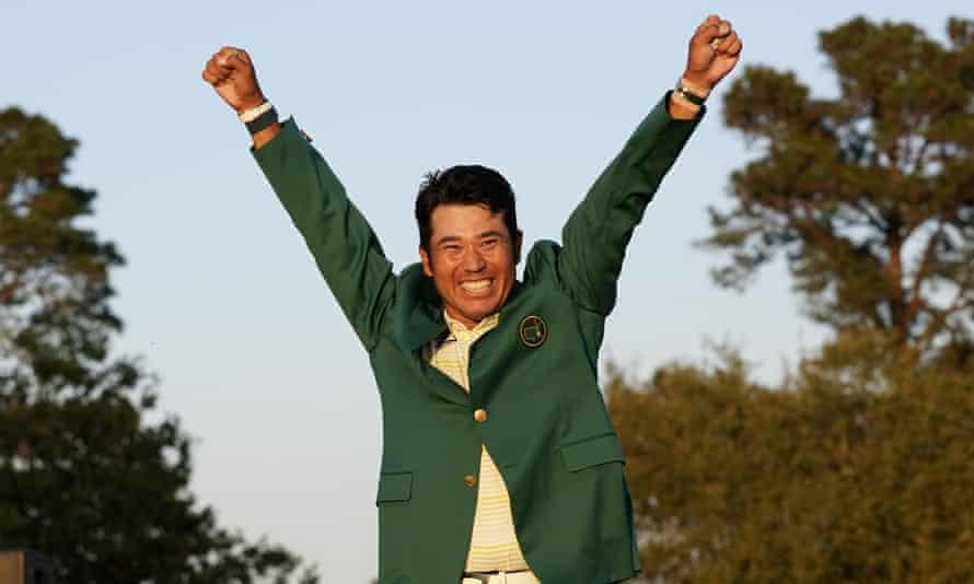 Hideki Matsuyama celebrates in the Green Jacket after winning the Masters at Augusta.