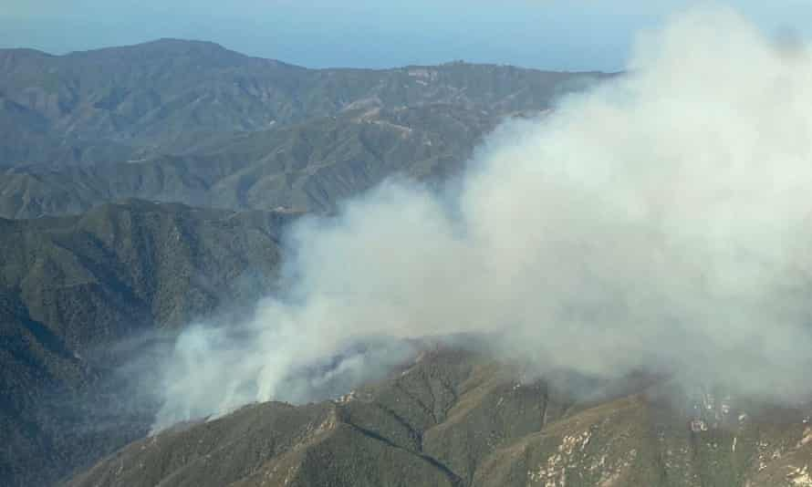 Smoke rises from the Willow fire near Big Sur, California, on Sunday.