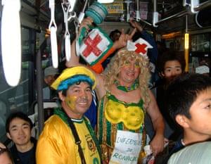 'Ronaldo's nurse' on a Saitama bus after Brazil's World Cup semi-final win over Turkey.