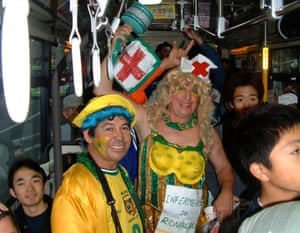 'Ronaldo's nurse' on a Saitama bus after Brazil's World Cup semi-final win over Turkey.