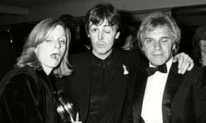 Freddie Starr with Paul and Linda McCartney at the 1983 Brit awards.