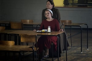 Offred (Elisabeth Moss) and Aunt Lydia (Ann Dowd) in The Handmaid's Tale