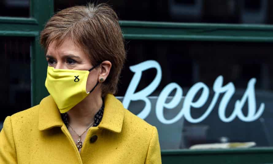Nicola Sturgeon campaigns for the Scottish parliament elections in her Glasgow Southside constituency