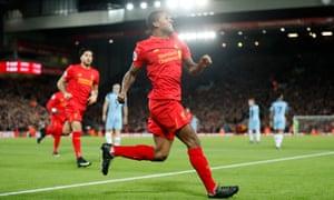 Liverpool's Georginio Wijnaldum celebrates scoring.