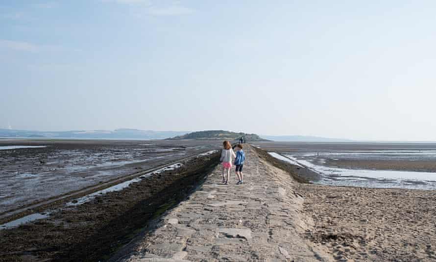 The writer's children at Crammond Island, Scotland