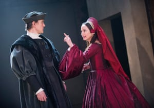 Wolf Hall, 2014. Directed by Jeremy Herrin, designed by Christopher Oram. The photograph shows Thomas Cromwell (Ben Miles) and Anne Boleyn (Lydia Leonard).