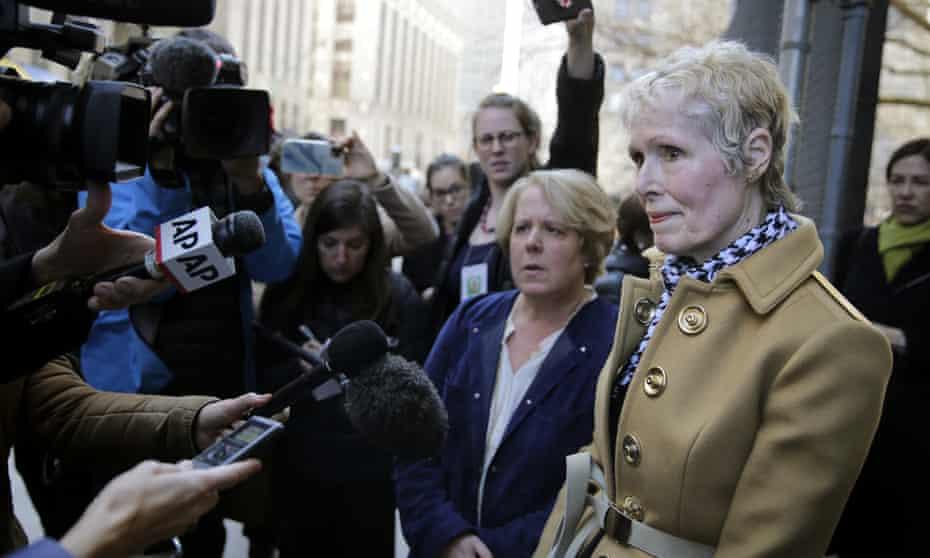 E Jean Carroll talks to reporters in New York in March