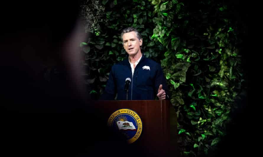 Gavin Newsom in Long Beach, California on 22 February 2021.