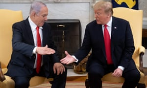 Donald Trump and the Israeli prime minister, Benjamin Netanyahu, at the White House on 25 March 2019.