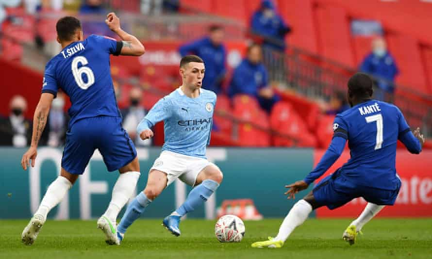 Manchester City and Chelsea in action in last month's FA Cup semi-final