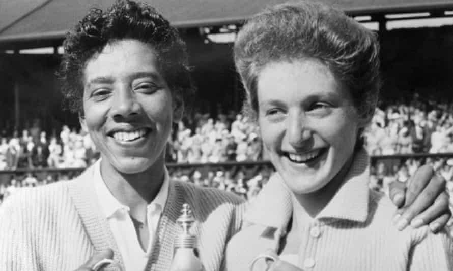 Althea Gibson and Angela Buxton after winning the women's doubles at Wimbledon in 1956