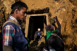 Nasa community members raid and destroy an illegal gold mine during a minga against an incursion on their territory.