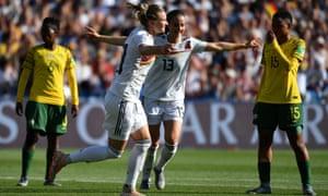 Alexandra Popp celebrates after scoring Germany's third.