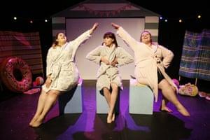 Rachael Abbey, Jess Morley, Sarah Penney in the Roaring Girls' Beach Body Ready.