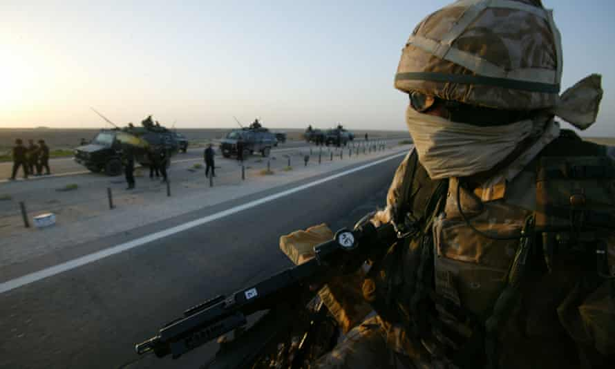 British Territorial Army soldiers  on escort duty  in Iraq