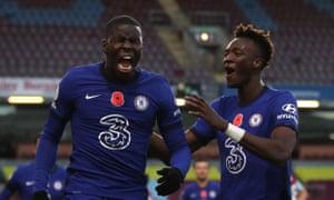 Chelsea's Kurt Zouma celebrates with teammate Tammy Abraham after scoring his team's second goal.