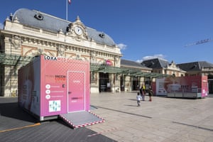 A Covid-19 vaccination box on the square of the SNCF train station vaccine centre, Nice, France.