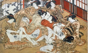 A shunga print showing a man in a house of prostitution attempting to satisfy seven women at the same time.