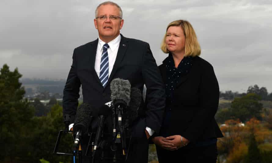 Liberal backbencher Bridget Archer with Scott Morrison at a press conference in Launceston