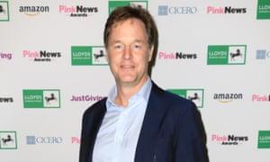 Nick Clegg at the Pink News Awards this week.