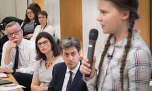 MPs Michael Gove, Layla Moran and Ed Miliband listen to Swedish climate activist Greta Thunberg.