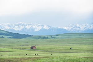 The Zumwalt prairie and Wallowa Mountains in north-east Oregon are seen