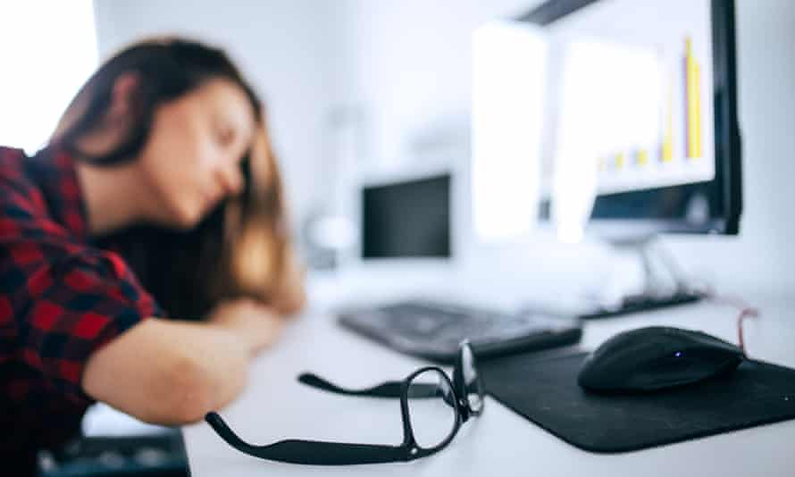 Working 9 to 9 ... workers at home have clocked up an average of seven extra days work in the past five months.