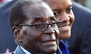 Former Zimbabwe president Robert Mugabe with his wife Grace Mugabe.