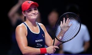 A smile from Ashleigh Barty as she celebrates winning her semi-final match against Karolina Pliskova.