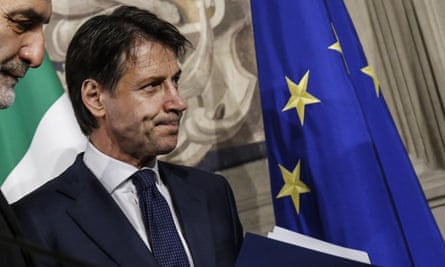 Coalition leader and new Italian prime minister Giuseppe Conte after meeting the president of Italy's parliament, Roberto Fico, on 1 June.