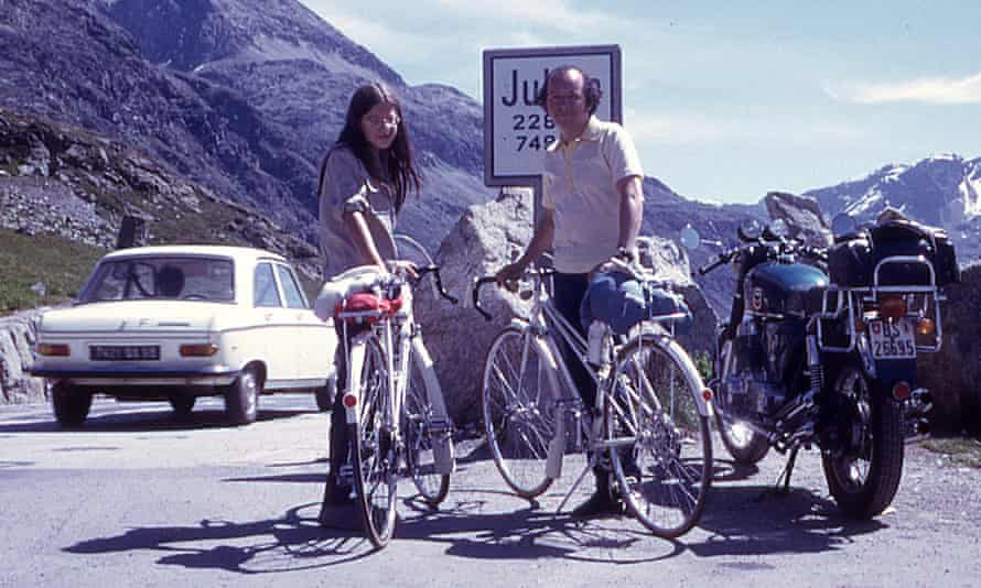 Susan Faludi and her father cycling in the Alps, 1972.