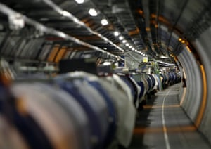 The Large Hadron Collider in its tunnel at the European Particle Physics Laboratory near Geneva.