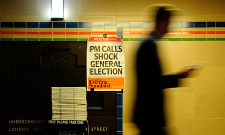 An Evening Standard poster in a tube station announces May's calling of a snap general election.
